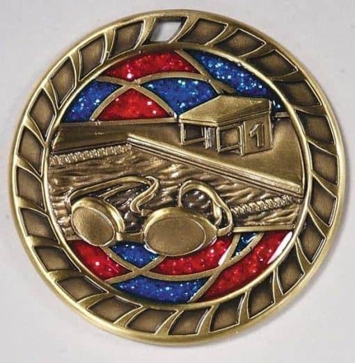 """2-1/4"""" Glitter Swimming Medal"""