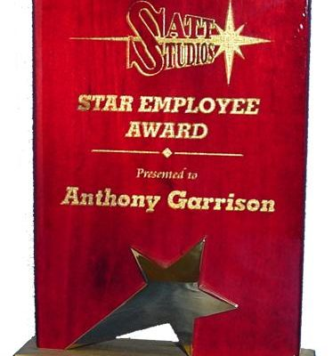 Rosewood Plaque & Star on Base Award