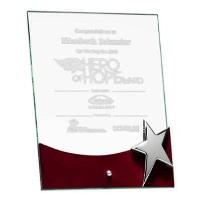 Silver Star Standing Glass Aware G2792