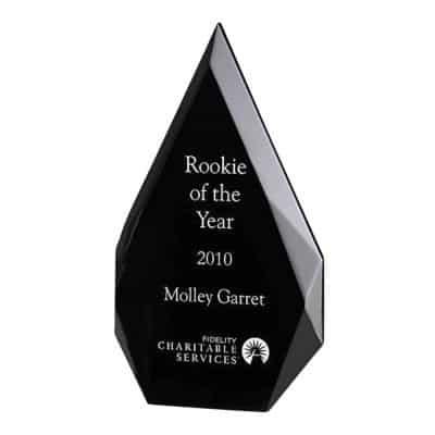 black freestanding arrowhead acrylic award