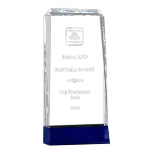 Thick Crystal Award on a Cobalt Blue Base