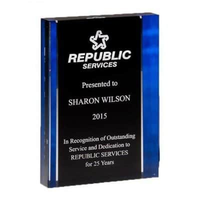 free standing blue acrylic award