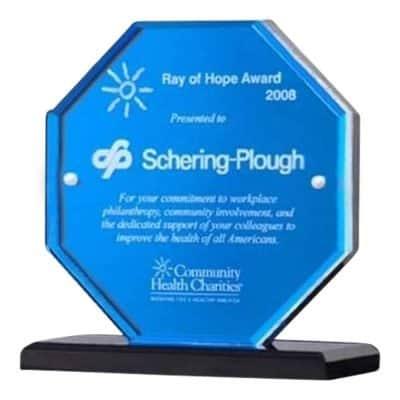 blue octagon acrylic award